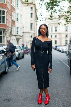 Belted black dress, topped off with red leather booties | Spring outfits, Outfit ideas, Street fashion, Women fashion #streetstyle #springfashion