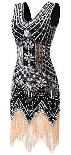 gastbypty Womens Gatsby Bead Sequin Art Nouveau Deco Flapper DressBlackLarge -- To view further for this item, visit the image link. Vintage Dresses, Vintage Outfits, Vintage Fashion, Vintage Clothing, Art Deco Clothing, 1920s Clothes, Dresses Art, Vintage Jewelry, 20s Dresses