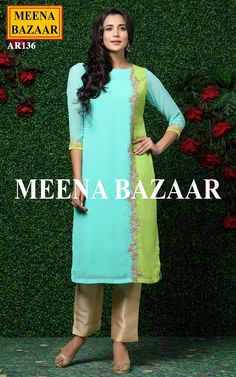 Aquamarine Embroidered Kurti @ MeenaBazaar