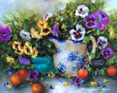 """""""Pansy Panoply - Flower Paintings by Nancy Medina"""