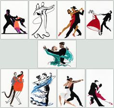 BFC-Creations  Ballroom dancing is really gaining in popularity. Share your love of dancing by putting these lovely couples on clothing totes or make a great wall hanging!