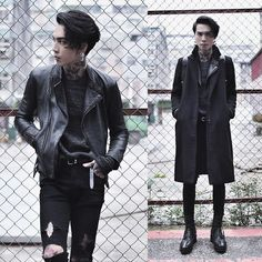 Get this look: http://lb.nu/look/7958420  More looks by IVAN Chang: http://lb.nu/ivan  Items in this look:   Vintage Overcoat, Vintage Leatherjacket, All Saints Sweater, All Saints Boots, Asos Superskinnyjeans   #artistic #street #vintage Allsaints Boots, Allsaints Outfit, Modern Goth, Modern Punk Fashion, Fashion Men, Mens Grunge Fashion, Dark Fashion, Gothic Fashion, Biker Fashion