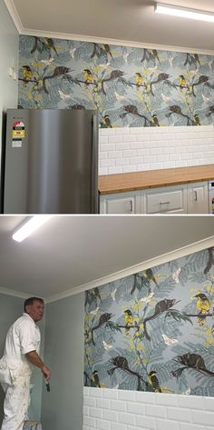 Leadbeater Forrest wallpaper getting installed into a kitchen in a Mudgee nursing home. Accent Wallpaper, More Wallpaper, Wall Installation, New Artists, Designer Wallpaper, Your Space, Valance Curtains, Nursing, Living Room