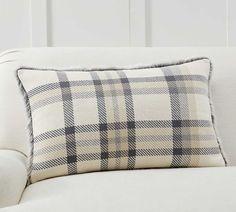 Nottingham Plaid w/ Faux Fur Back Decorative Pillow Cover | Pottery Barn Back Pillow, Lumbar Pillow, Sofa Pillows, Throw Pillows, Beige Sectional, Applique Pillows, Pillow Texture, Chair And Ottoman, Armchair