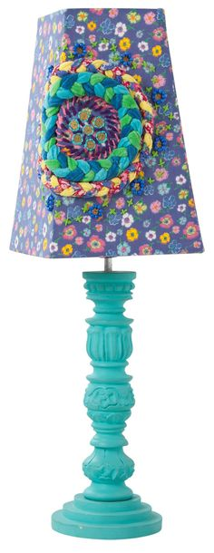 Squared lampshade - flower print with braided decoration - Rice DK - Rice - Sisters Guild
