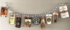 Coffee Charm Bracelet - starbucks - coffee - coffee jewelry   #coffee  #starbucks