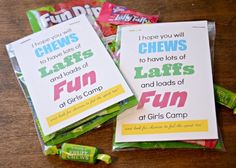 My Young Women are getting ready to go to Girl's Camp next week.    I'm not going this year, but I love to send up a little treat to give ...