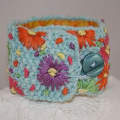 Embroidered Cuff  Daisies on pale turquoise by Lynwoodcrafts, £15.00