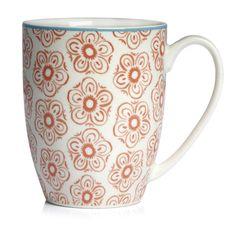 Wilko Morroccan Flower Design Mug Orange