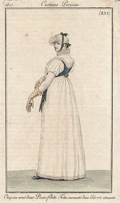 Rear of gown with blue bodice 1807 Costume parisien
