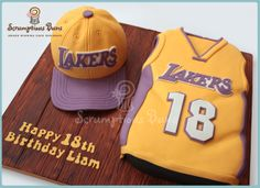 LA Lakers Basketball themed 18th birthday cake... all chocolate fudge cake filled with Chocolate OREO buttercream