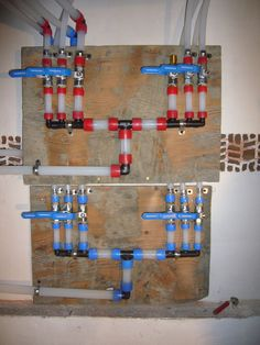 Using the Uponor-Wirsbo system to bring water to five bath rooms, one kitchen and the exterior. Water Plumbing, Pex Plumbing, Water Pipes, Lake Bathroom, Hardwood Decking, Home Fix, House Built, Home Repair, Modern Rustic
