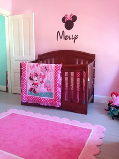 Minnie Mouse- So want to do this when the girls have to share a room. Pink wall, minnie mouse and zebra (jessica has the zebra). =)