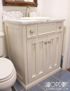 Hand built sink vanity - Eric could totally do this.  Perfect for the half bath downstairs.