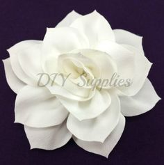 "3"" Off white lotus fabric flower - Rose flower for headbands - Wedding hair clip flower - Wholesale chiffon flowers - Large flowers"