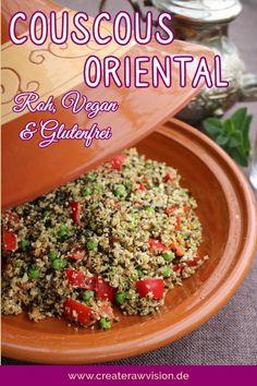 Couscous Oriental Roh & Vegan - Another! Raw Food Recipes, Snack Recipes, Healthy Recipes, Snacks, Raw Vegan Dinners, Vegan Energy Bars, Bespoke Kitchens, Couscous, Pesto