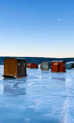 Ice Fishing. One of these are Mike & my ice fishing shanties.
