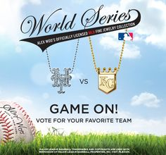 World Series 2015!   http://www.alexwoo.com/little-mlb-new-york-mets-in-14kt-white-gold-with-diamonds.html  http://www.alexwoo.com/little-mlb-kansas-city-royals-in-14kt-yellow-gold.html
