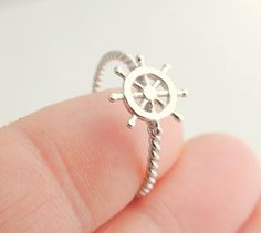 Nautical Sterling Silver Jewelry Ring, Helm, Pirate, Ship, Coin, Rope, Charm, Jewelry, Rings, Silver Jewelry, Silver Ring.