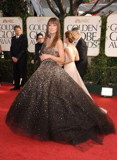 Olivia Wilde wearing a beautiful sparkle dress.