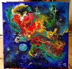 "Title: A Little Galaxy by Marika Segal 8""X 8""  Acrylic on Canvas"