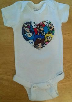 Nintendo Super Mario Baby and Toddler Onesie or Shirt by AweBeeDesigns on Etsy