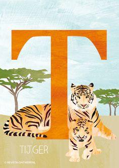 De T is van tijger. Hij kan hard brullen en jaagt op dieren.