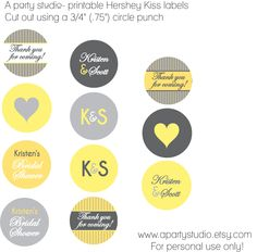 Bridal Shower Hershey Kiss Labels- Yellow and Grey- print your own by A Party Studio on Etsy