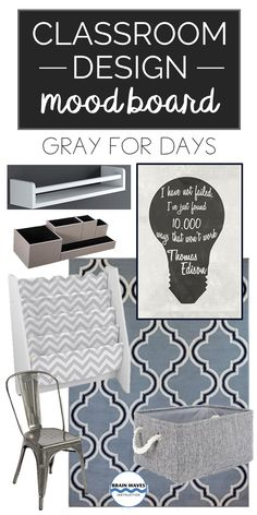 Looking for ways to make your classroom feel more hip? Try infusing a little gray into the mix! Check out more ideas from this classroom mood board, too! Classroom Design, Classroom Decor, Middle School Classroom, High School, Middle Schoolers, The Middle, My Teacher, Mood Boards, Teaching Resources