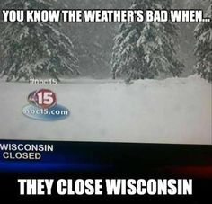 You know the weather's bad when……
