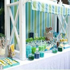 Candy buffet decor ideas. I like the overhang, but might be hard to build.