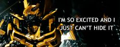 """Bumblebee """"I'm So Excited"""" gif. Probably the best thing ever. I ALWAYS think of this scene when I hear this song!"""