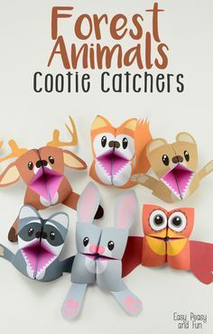 Forest Animals Cootie Catchers - Origami for Kids - Easy Peasy and Fun More