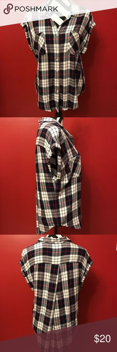 plaid blouse Cap sleeve Two front chest pockets Soft rayon fabric Button up front V-neckline Crossover pleat on back of shirt 100% Rayon  length is 28 ¼ jachs girlfriend Tops Button Down Shirts