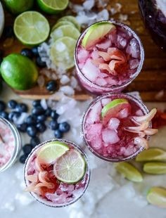 "guardians-of-the-food: ""Blueberry Hibiscus Margarita Punch "" Grand Marnier, Punch Recipes, Alcohol Recipes, Drink Recipes, Cocktails, Cocktail Recipes, Alcoholic Beverages, Blueberry Margarita, Blueberry Yum Yum"