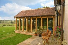 Garden room architecture Oak Sun Rooms, Orangeries, Garden Rooms and Conservatories - Oak summerhouse. Beautifully crafted oak framed garden room with an amazing view. Oak Framed Extensions, House Extensions, Barn House Conversion, Barn Conversions, Orangery Extension, Oak Framed Buildings, Casa Patio, Exterior Siding, Building A House