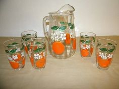 Vintage Orange Juice Pitcher with Juice Glasses
