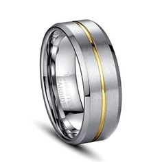 8mm Tungsten Carbide 18k Gold Groove Wedding Jewellery Ring Engagement Band Matte Finish (Platinum 14k,18k and 24k Yellow Gold)