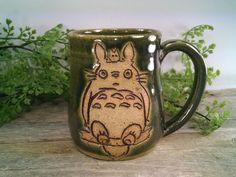 16 oz Dark Green Totoro Mug - Wheel Thrown Hand Carved Studio Ghibli Coffee Cup