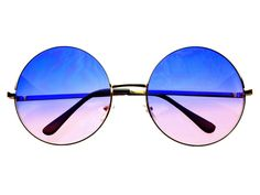 Blue Pink Lens Large Oversized Metal Circle Round Sunglasses R1801 – FREYRS - Beautifully designed, cheap sunglasses for men & women