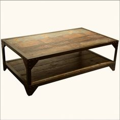 Rustic salvaged barn wood coffee table 24W x 48L x 18T Welded