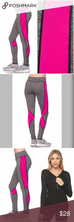 Athletic color block leggings w/ moisture barrier! Marled Grey Color Block Ankle Leggings with Bold Stitching. A pair of stretch knit athletic leggings featuring moisture management, and color block panels at its sides and waist. Pants