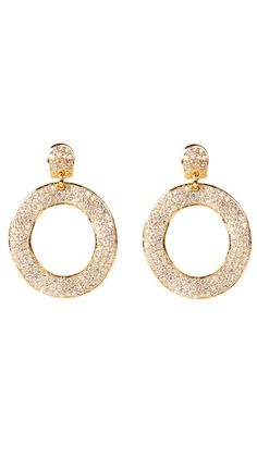 Pave Flat Circle Earrings by Adam Marc