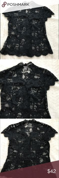 Beautiful Black Lace Blouse by Ann Taylor. Size 0 Exquisite Black Lace Blouse by Ann Taylor. Has a very delicate look to the lace as shown in pics 3&4. Brand new without tags. Size 0 Ann Taylor Tops Blouses