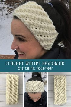 I'm loving this cute winter headband crochet pattern! It is so fast and easy - around 30 minutes and it's a free pattern. This crochet ear warmer is sure to be your favorite! #crocheting #stitchingtog