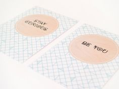Proud of @yonksie!  Set of 2 cards 'be you' and 'stay curious' van YESIWOOD op Etsy, €4.00