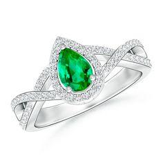 Angara Three Stone Emerald Halo Ring With Diamond Border XLKhA