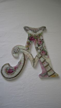 "Vtgchic China Mosaic Pink Roses Wall French Shabby Jewelry Rhinestone Letter ""A"" 