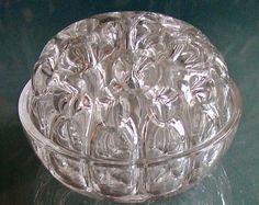 VASE*Steckvase mit 6 Fußnoppen*um 1970, a.Frankreich*Bleikristall*wohl Pressglas