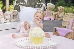 cake smash, teddy bear picnic, woppets and poppets, first cake smash, girls cake smash